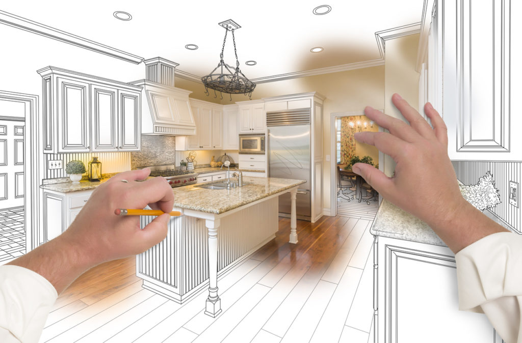 Hands Sketching a Custom Kitchen